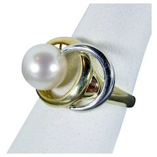 14K Yellow and White Gold Cultured Pearl Ring Size 7 1/4