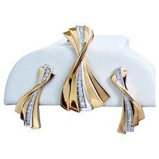 6.5 Grams, 18K YG Diamond Set with Pendant  & Earrings in Stylish Twist Design