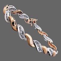 "14.6 Grams, Helzberg 10K WG & YG Diamond Bracelet 7"" Closed"