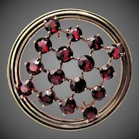 9.4 Grams,  14K YG Bohemian Red Garnet Pin by Wordley, Allsop and Bliss / Krementz & Co