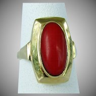 14K Yellow Gold Dark Red Coral Ring Size 5 1/4