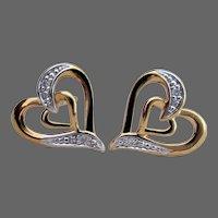 18K YG Anatol Double Heart Diamond Earrings