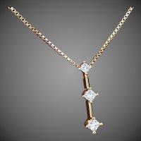 14K YG Journey Pendant with 3 Princess Cut Diamonds