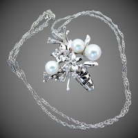14K WG Necklace (Pendant & Chain) with Flower Vase Filled with Cultured Pearls & Diamonds