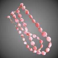 "Pink & Angle Skin Swirl ""Tablet"" Coral Bead Necklace 21 Inches"