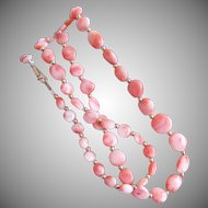 """Pink & Angle Skin Swirl """"Tablet"""" Coral Bead Necklace 21 Inches"""
