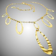 18K Yellow Gold Necklace Made in Italy  17 Inches Long
