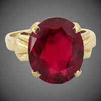 14K YG Lab Grown Ruby Ring, Size 6 1/2
