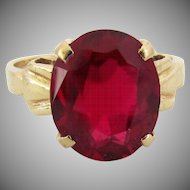14K Yellow Gold Lab Grown Ruby Ring, Size 6 1/2