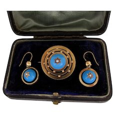 18K YG Turquoise Enamel & Seed Pearl Set with Earrings & Brooch in Original Box