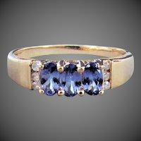 14K YG Tanzanite and Diamond Ring Size 8 1/4