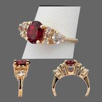 14K YG Rhodolite Garnet & White Sapphire Ring Size 5