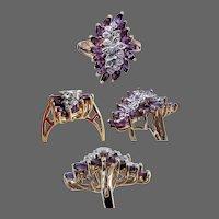 10K YG Samuel Aaron Amethyst and Diamond Ring Size 7 1/4
