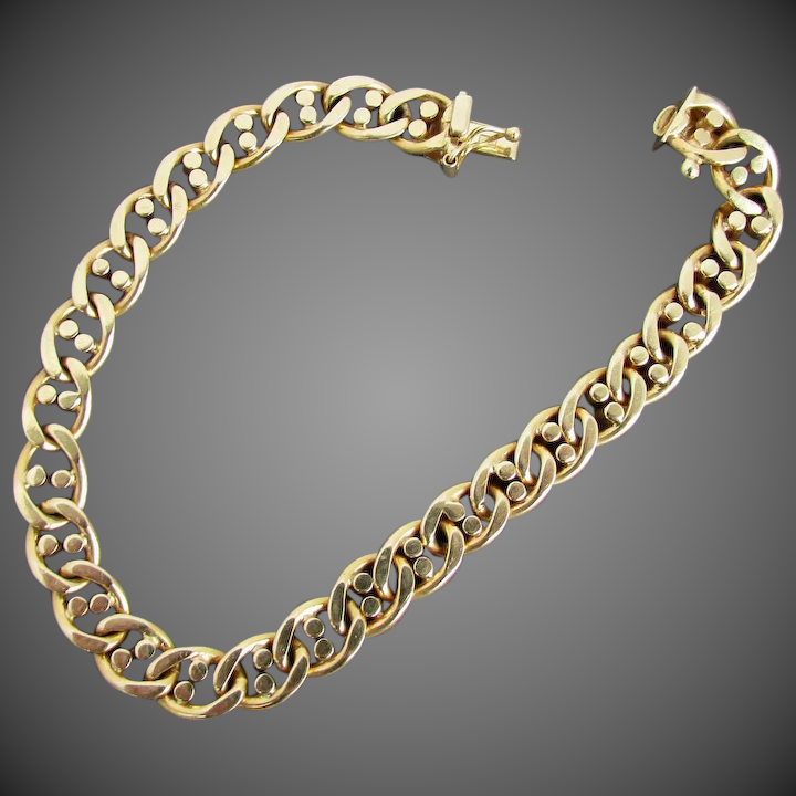 d9804e31b1220 20.8 Grams 14K Italian Yellow Gold Marine Link Bracelet, 8 Inches Closed