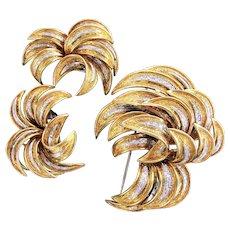 83.1 Grams of Luxurious 18K YG and WG Earrings & Brooch Set - Multiple Castings