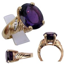 14K YG Amethyst & Diamond Ring Size 6