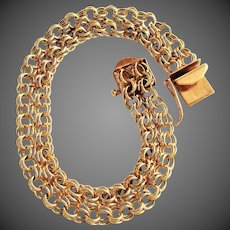 15.3 Grams, 14K Yellow Gold Bracelet with Interlocking Loops, 7 Inches Closed
