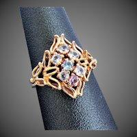 14K YG Ring with Multi-Color Topaz Gemstones Size 6