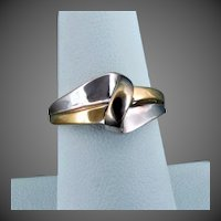 14K YG & White Rhodium Ring, Size 7