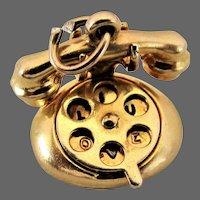 "1930's - 1950's 14K YG Rotary Telephone Charm ""HELLO"" & ""I LOVE U"""