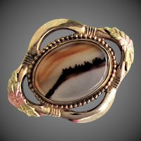 1950's Landscape Agate Pin, 12K Gold Filled by L.S. Peterson Company