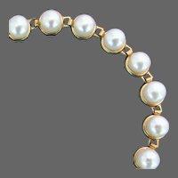 10K YG Cultured Akoya Pearl Bracelet, 7 1/4 Inches closed