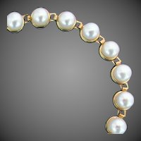 10K YG Cultured Akoya Pearl Bracelet, 7 1/4 Inches closed