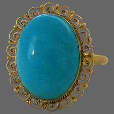 18K YG Natural Turquoise Ring Size 6 1/2