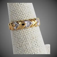 8K Band Ring with Hearts & Diamonds from Germany
