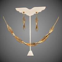 14K YG Very Fine Necklace & Earrings Set