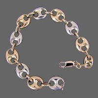 "12.5 Grams, 18K Italian Two Tone Gucci Link / Anchor Link Bracelet, 7 1/4"" Closed"