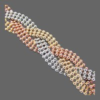 21 Grams, 14K Italian Tri Color Gold Woven Ball Bead Bracelet, 7 1/2 Inches Closed