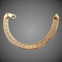9.4 Grams, Italian 14K YG Etched Herringbone Bracelet