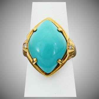18K YG Marquis Shaped Turquoise Cabochon Ring with Diamond Accents, Size 6 - Snug 6 1/2