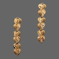 18K YG Earrings - Dangling Articulated Hearts