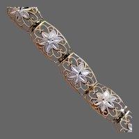 """6.7 Grams, 10K Two Toned YG Floral Link Bracelet 7 1/2"""" Closed"""