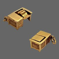 14K Gold 3D Office Secretary Articulated Typewriter Desk Charm