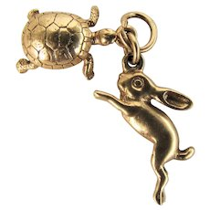 14K YG Tortoise and Hare Charms from Bracelet Belonging to Actress Susan Cummings