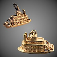 7.7 Grams, 14K YG WELLS Riverboat Charm with Moving Paddles