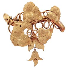 10.3 Grams, 18K YG Grape Leaf and Vine Brooch