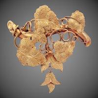 10.3 Grams, 18K YG Grape Leaf and Vine Brooch