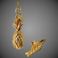 5.6 Grams, 14K YG 3-D Hawaiian Pineapple Pendant / Charm with Tag Charm