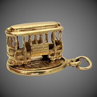14K YG Rotating Trolley Cable Car Charm