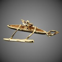 14K YG Outrigger with Oarsman Charm, Hawaiian Souvenir