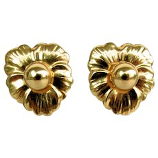 14K Floral Earrings with Round Studs & Floral Earring Jacket