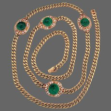 78.4 Grams, 14K YG & 18K YG Natural Imperial Green Jadeite & Diamond Medallion Necklace 31 Inches