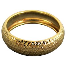 14K YG Faceted Wide Band Ring Size 7 1/4