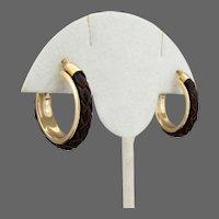 14K YG JACMEL Brown Woven Leather  Hoop Earrings