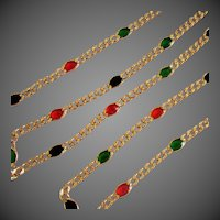 "14K YG Italian Curb Link Necklace with Enamel ""Gemstone"" Stations, 20 Inches Long"