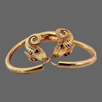 19 Grams, 18K YG Ilias Lalaounis Rams Head Hoop Earrings